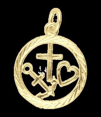 Gouden Geloof, Hoop en Liefde in ring 20 mm. ketting hanger