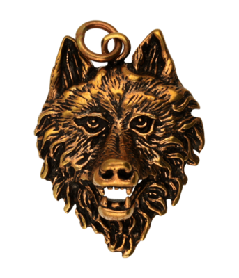Wolfskop ketting hanger - brons