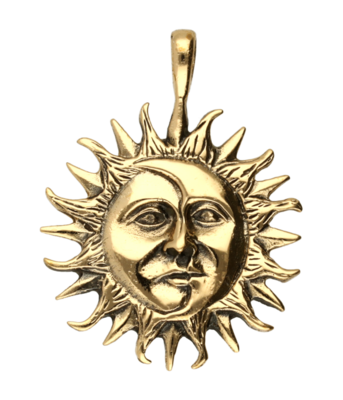 Zon en maan ketting hanger - brons