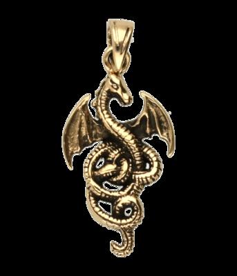 Draak middel ketting hanger - brons