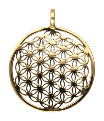 Flower of life groot ketting hanger - brons