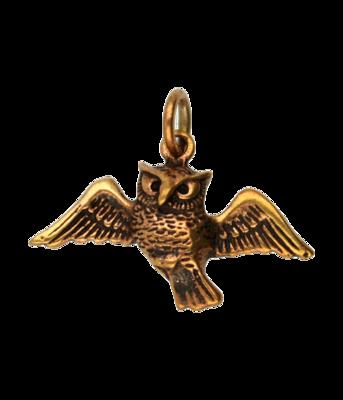 Bronzen Uil met vleugels wijd kettinghanger