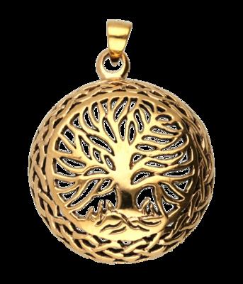 Bronzen Levensboom bol rond kettinghanger