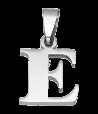 RVS Letter E ketting hanger - edelstaal