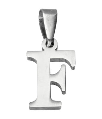 RVS Letter F ketting hanger - edelstaal