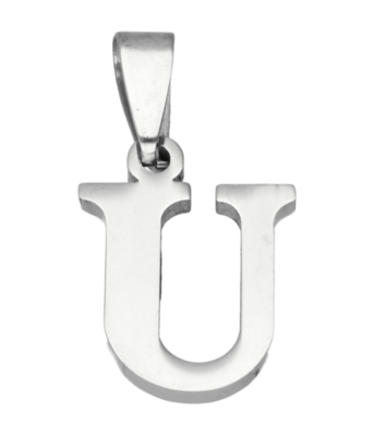RVS Letter U ketting hanger - edelstaal