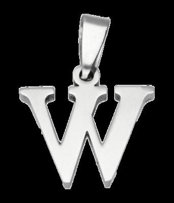 RVS Letter W ketting hanger - edelstaal