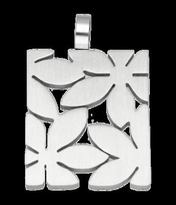 RVS Bloemen rechthoek 2 ketting hanger - edelstaal