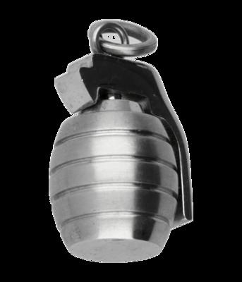RVS Handgranaat ketting hanger - edelstaal