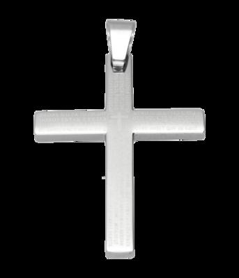 RVS Kruis met teksten ketting hanger - edelstaal