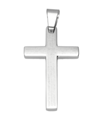 RVS Kruis met teksten middel ketting hanger - edelstaal
