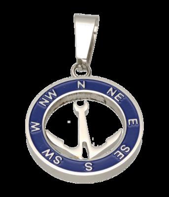 RVS Kompas met anker ketting hanger - edelstaal