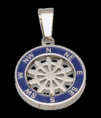 RVS Kompas met roer ketting hanger - edelstaal