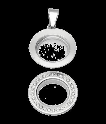 RVS medaillon rond glad strass 28 mm. ketting hanger - edelstaal