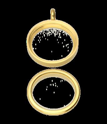 RVS gouden medaillon rond glad 24 mm. ketting hanger - edelstaal