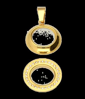 RVS gouden medaillon rond glad strass 28 mm. ketting hanger - edelstaal