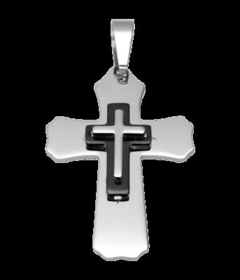 RVS Kruis dubbel XL ketting hanger - edelstaal