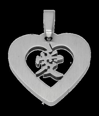 RVS Hart met Chinees teken liefde ketting hanger - edelstaal