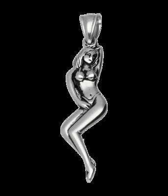 RVS Naakte vrouw ketting hanger - edelstaal