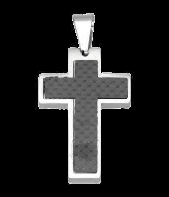 RVS Kruis met zwarte inleg ketting hanger - edelstaal