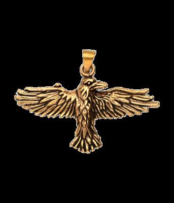 Bronzen Raaf vliegend kettinghanger