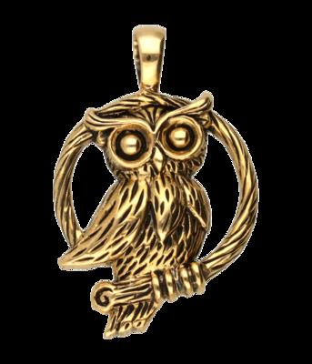 Bronzen Uil op tak kettinghanger