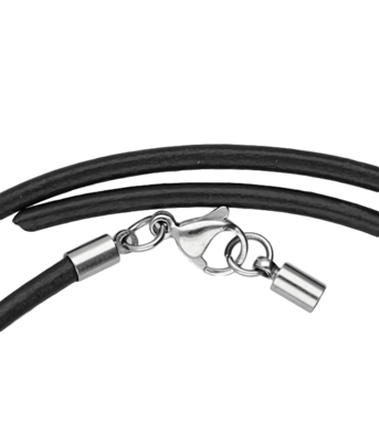 Leren zwarte ketting - dikte 3,0 met rvs sluiting 50 cm en inkortbaar