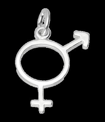 Zilveren Man/vrouw teken ketting hanger - 2