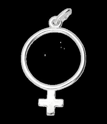 Zilveren Vrouwenteken ketting hanger - groot