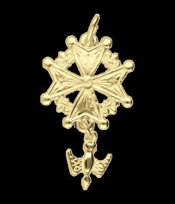 Gouden Hugenotenkruis groot ketting hanger