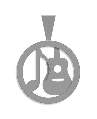 Zilveren gitaar en muzieksleutel - special - 22 mm. doorsnede 1,2 mm. dikte - gitaar verdiept - 2D