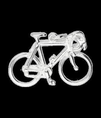 Zilveren Racefiets ketting hanger - groot