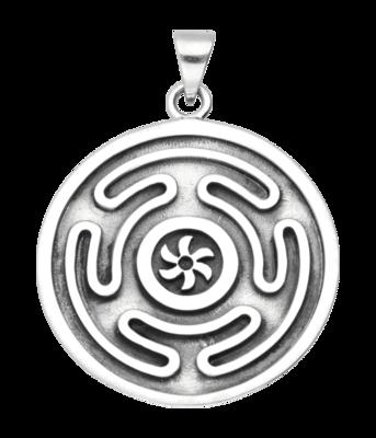 Zilveren Wiel van Godin Hecate kettinghanger