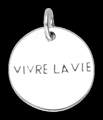 Zilveren Vivre la vie kettinghanger