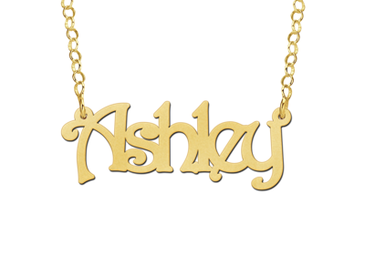 Gouden Naamketting lettertype Ashley