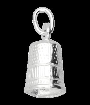 Zilveren Vingerhoed ketting hanger - groot