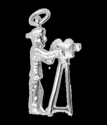 Zilveren Cameraman ketting hanger