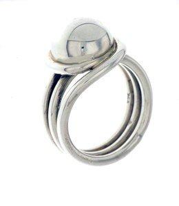 ZilverenRing design draadring met knop