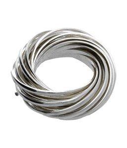 ZilverenRing design met 21 losse ringen gevlochten