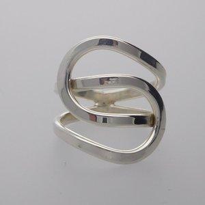 ZilverenRing design gevlochten knoop open