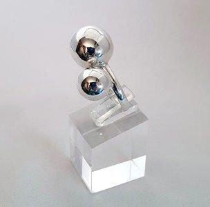 ZilverenRing design met 2 bolletjes klein en groot