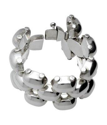Zilveren armband Massieve bolle schakels 17 cm