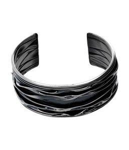 Zilveren kreukelarmband breed open 20,5 cm