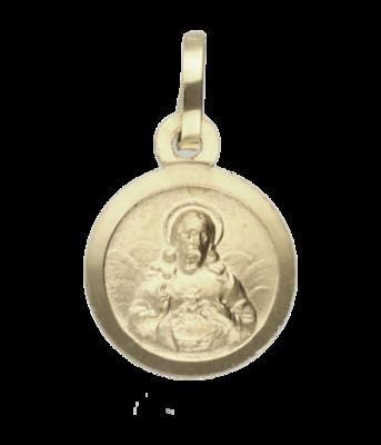Gouden Medaillon Jezus 12 mm. kettinghanger