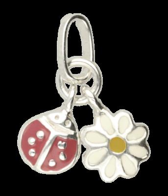 Zilveren Madelief bloem en Lieveheersbeestje hanger