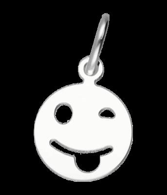 Zilveren Smiley steekt tong uit hanger
