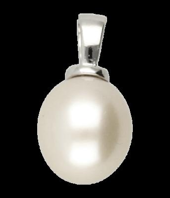 Zilveren Parel druppel hanger