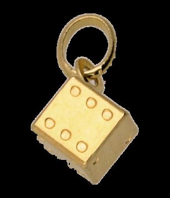 Gouden Dobbelsteen klein ketting hanger