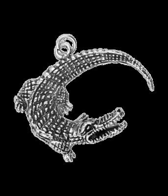 Zilveren Krokodil XL kettinghanger