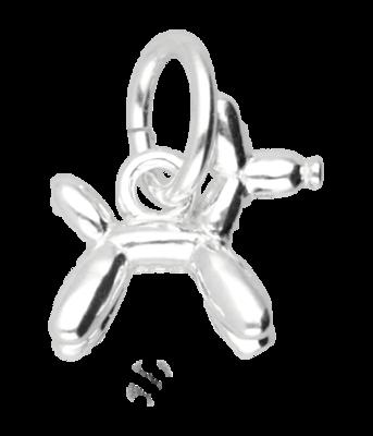Zilveren Ballon hondje klein kettinghanger
